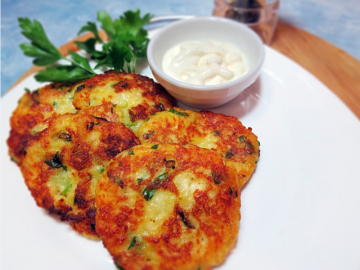 Potato pancakes with cheese and herbs. favorite recipe