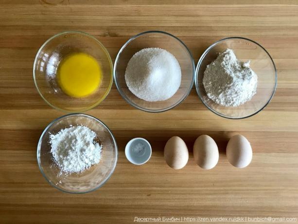3 eggs (C1), 100 g sugar, 60 g flour B / C, 30 g of corn starch, 20 g butter, 20 g of vanilla sugar, a pinch of salt