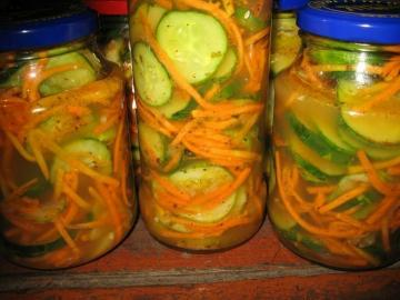 Cucumbers and carrots in Korean for the winter. My favorite recipe
