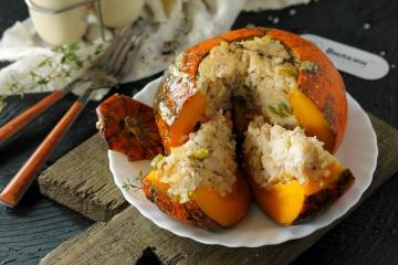 Whole-baked stuffed pumpkin in the oven