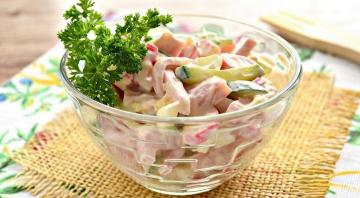 Funky salad with ham in haste