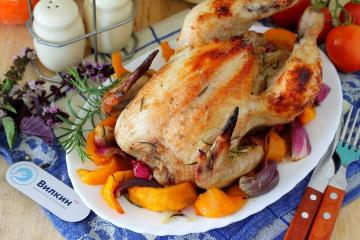 Chicken with pumpkin in the oven
