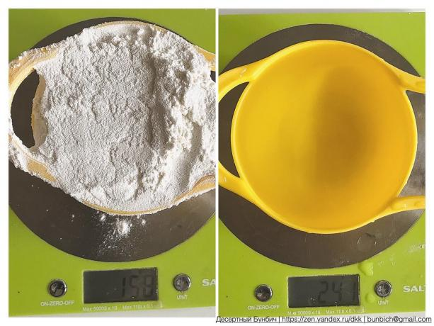 Cup of flour weighs 158 g, and a glass of Water 241 g